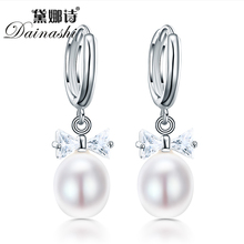 Dainashi Real Natural Freshwater Pearl Earrings with 925-sterling-silver Earrings 8-9mm Pearls Jewelry Wholesale Price
