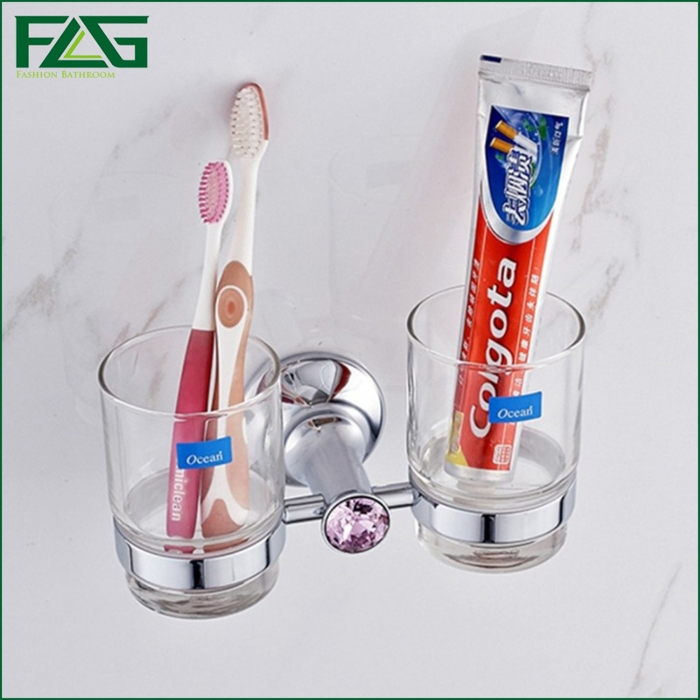 ФОТО FLG Sanitary Double Cup Tumbler Holders For Kids Wall Mounted Chrome With Crystal Toothbrush Ceramic Holder For Bathroom G8081