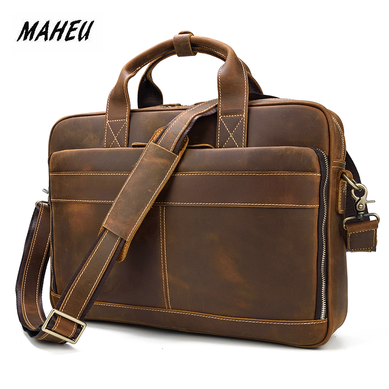 MAHEU Briefcase Notebook-Bag Laptop Office Lawyer Crazy Business-Bag Men's PC 15-Male
