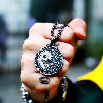 833fd51f3b9b Beier 316L inoxidable vikingo nórdico amuleto gran cadena hombres nórdico  vikingos runas amuleto Lobo COLLAR COLGANTE joyería de moda collar de LP277