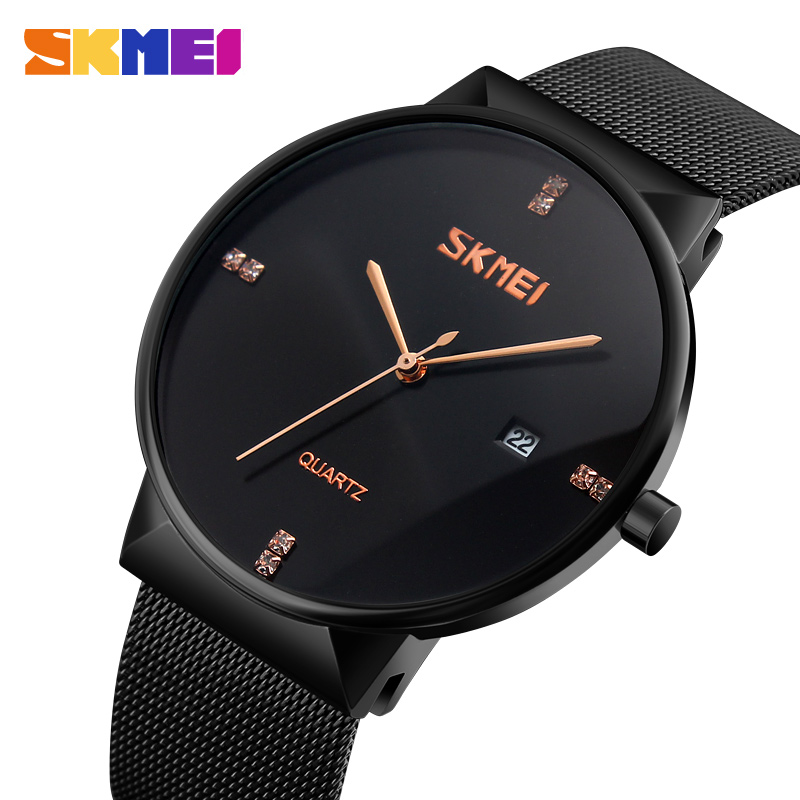 SKMEI Men Watches Stainless Steel Fashion Man Watch 2017 Top Brand Luxury Waterproof Quartz Male Watches Clock Relogio Masculino chenxi men gold watch male stainless steel quartz golden men s wristwatches for man top brand luxury quartz watches gift clock