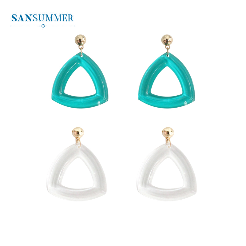 SANSUMMER Trendy Women Stud Earrings Fashion Geometric Acrylic Female Transparent Triangle Green White Earring 5010