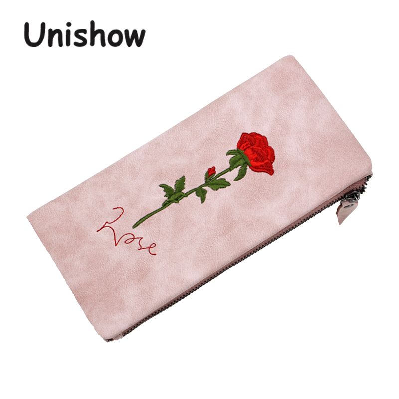 Unishow Embroidered Wallet Women Fashion Flower Purse Brand Designed Long Wallet Female Purse Card Holders With Coin Pocket Bag unishow long women wallet envelope women purse clutch pu leather ladies wallet simple female purse coin card holders