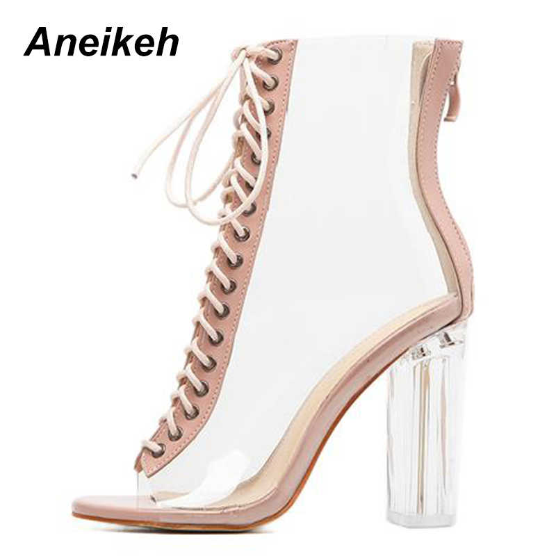 7a12e0ef193 ... Aneikeh Women Sandals Ankle Strap Perspex High Heels PVC Clear Crystal  Concise Classic Buckle Strap Sandals ...