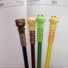 4pcs/lot The cute cartoon pencil pen cap head cover extender plastic pencil caps students school supplies
