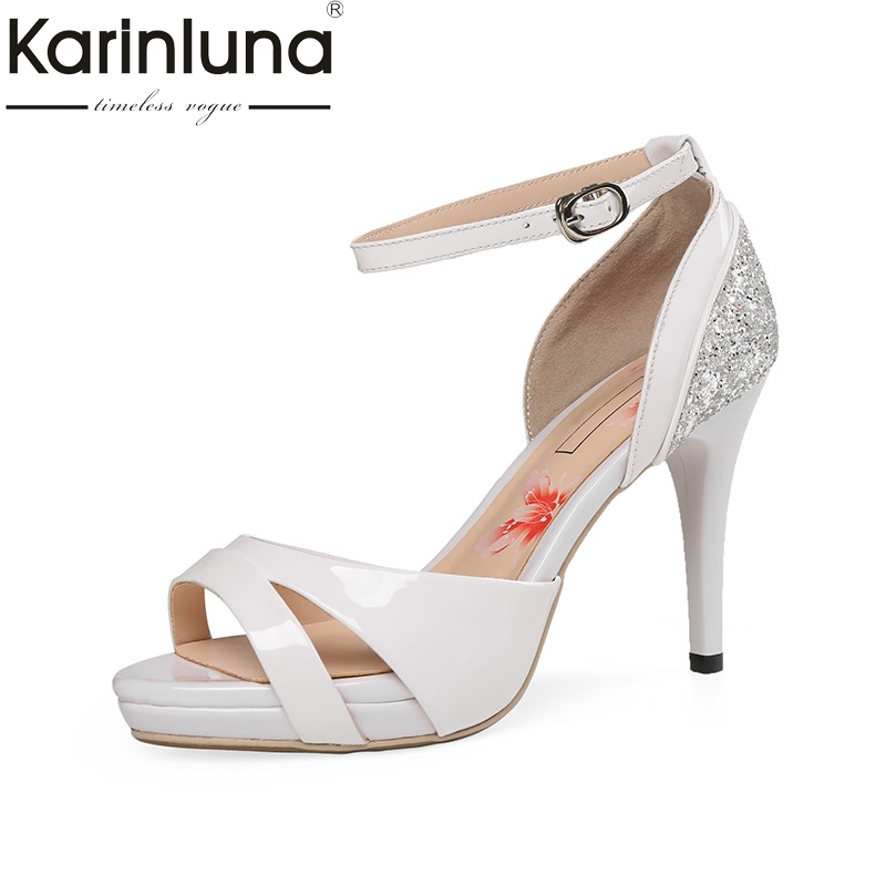 Karinluna 2018 Summer Fashion Glitters Women Sandals Cow Leather High Heels Shoes Woman Cool Lady Platform Shoes Size 34-39 phyanic wedges gladiator sandals 2017 new bling glitters high heels summer platform shoes woman casual creepers xdy8006
