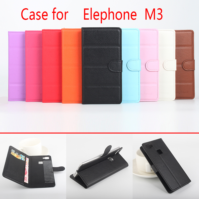 For Elephone M3 Phone Case Folio Flip Pure Color Lichee Pattern PU Leather Wallet Case Cover Cash/Card Slots sanheng