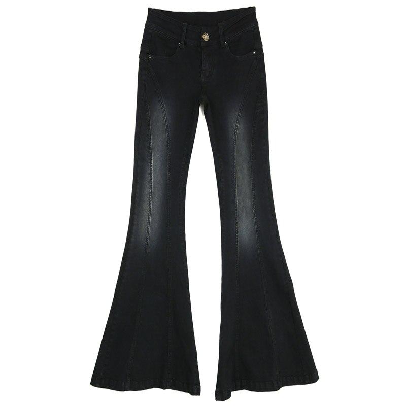 New 2018 Black Splice Jeans Womens High Waist Elastic Skinny Denim Long Flare Pants -9390