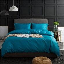 60S Pure Cotton Bedding Set European Plain Dyed Blue Bedlinen Queen Size Duvet Cover Flat Sheet Pillowcase