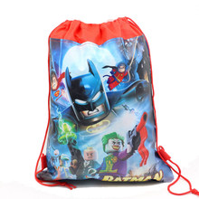 12Pcs Superman Batman Cartoon Kids Drawstring Backpack Shopping School Traveling Party Bags Birthday Gifts(China)