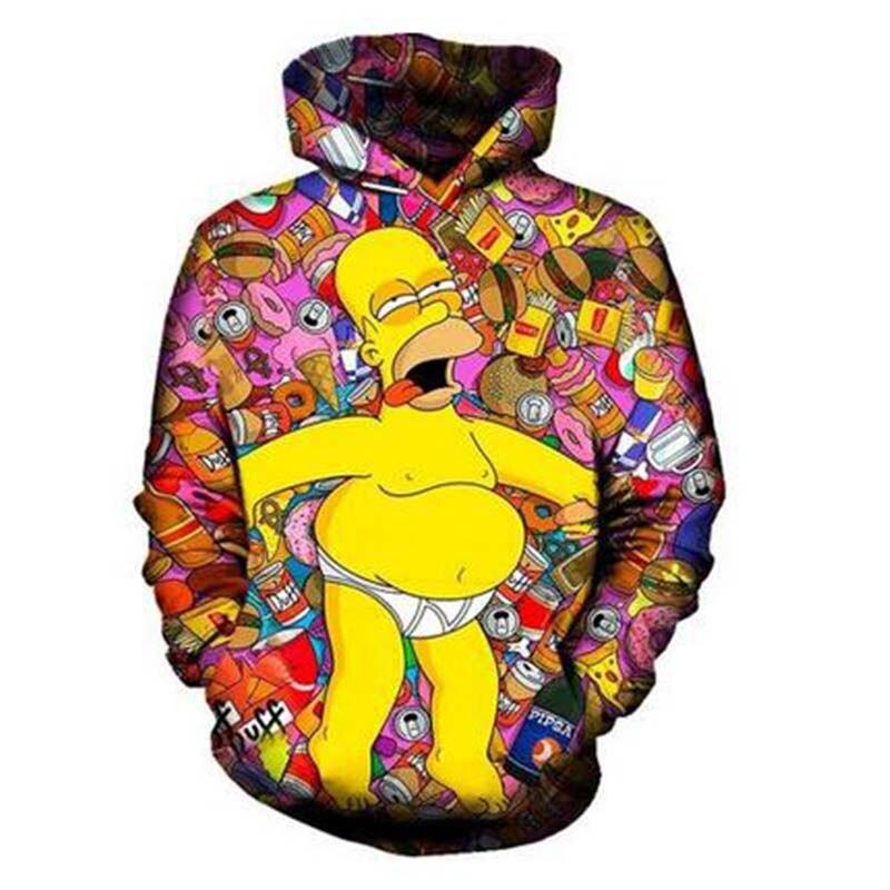 3D Hoodie Fun Food Series Simpson Sweatshirt աշուն - Տղամարդկանց հագուստ