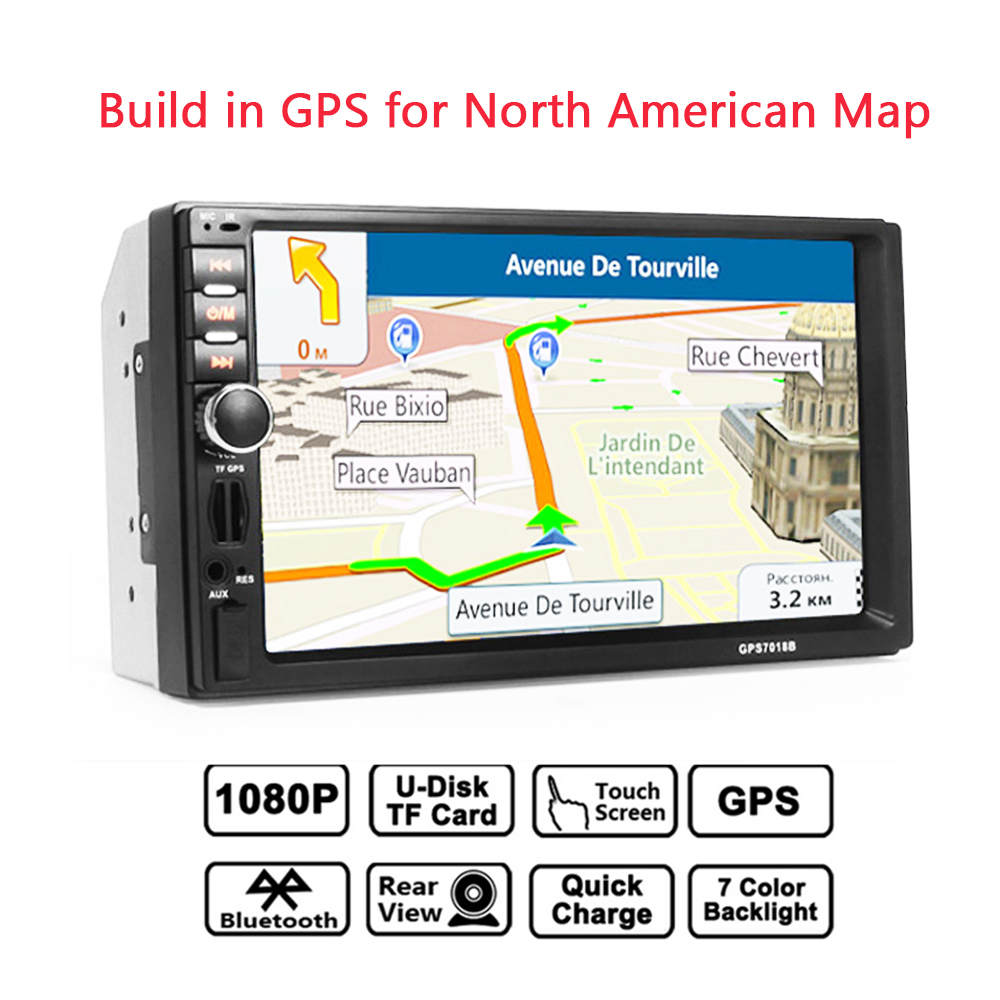 Gubang 7 Inch 2din Car Bluetooth Mp5 Player Hd Touch Screen Stk Audio Ic 60w Video 8g Memory Card Free North American Map