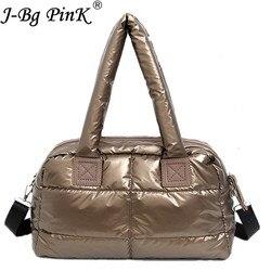 2018 New Winter Women Space Cotton Handbags casual Ladies Bag Down Fashion Bright Shoulder Bag Female tote Bolsas sac a main