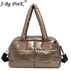 Image 2 - 2020 New Winter Women Space Cotton Handbags casual Ladies Bag Down Fashion Bright Shoulder Bag Female tote Bolsas sac a main