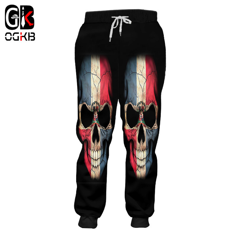 OGKB Unisex Hiphop Streetwear Jogger Haren Pants New Harajuku Women/men's Cool Print Flag Skull 3D Sweatpants Full Length Pants
