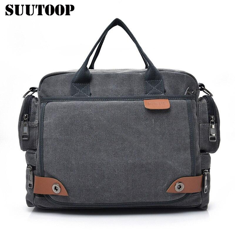 Men Casual Briefcase Business Shoulder Bag Men's Messenger Canvas Bag Vintage Style Travel Handbag Bag