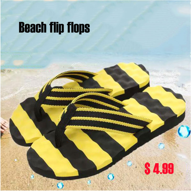 Casual Men's Flip Flops Flat Sandals Shoes For Male Striped Flip Flops Beach Sandals Shoes Man Indoor Outdoor Shoes 2019 summer