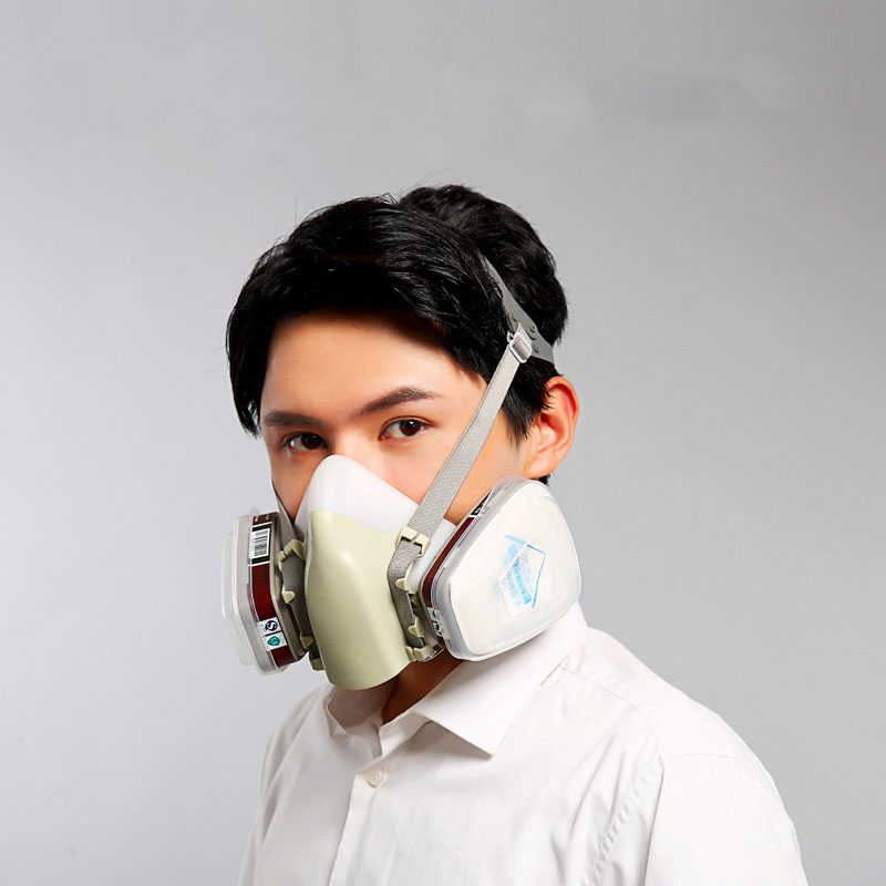 Half Face Mask Original Respirator for Chemical Industry with Silica gel Anti-pesticide/Chemical paint/formaldehyde/smoke 1212A skull style half face mask old silvery