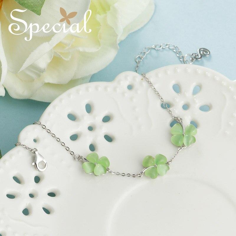 Особая мода клевер Браслеты и браслеты 925 Браслеты стерлингового серебра свежий зеленый Шарм Браслеты подарки для Для женщин S1732C
