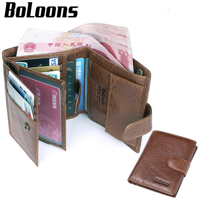 100% Kuh Echtes Leder Geldbörse Herren Geldbörse Vintage Kartenhalter Münzfach Männer Geldbörsen Kurz Reißverschluss Leder Geldbörse Mann Brieftasche