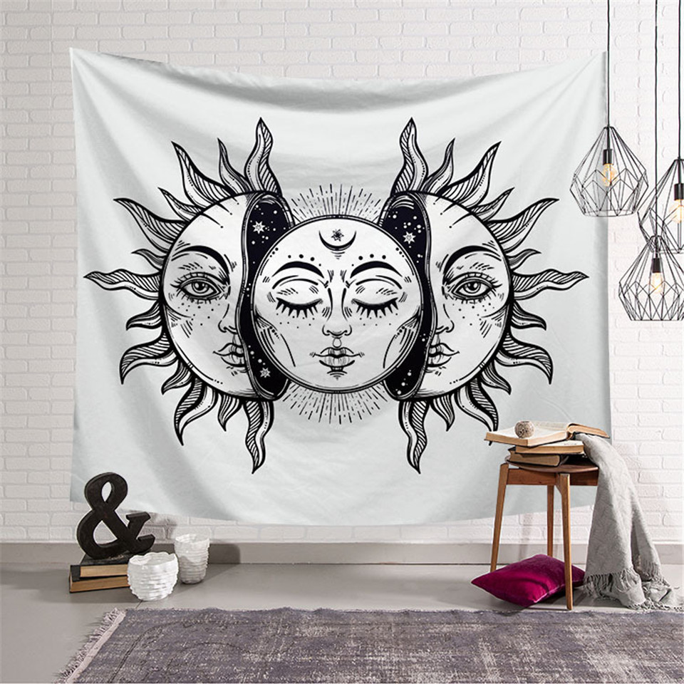 Cilected Indiano Del Sole E della Luna Modello Hippie Tapestry in Bianco E Nero Psichedelico Celeste Arazzo Appeso A Parete Coperte e Plaid Copriletto