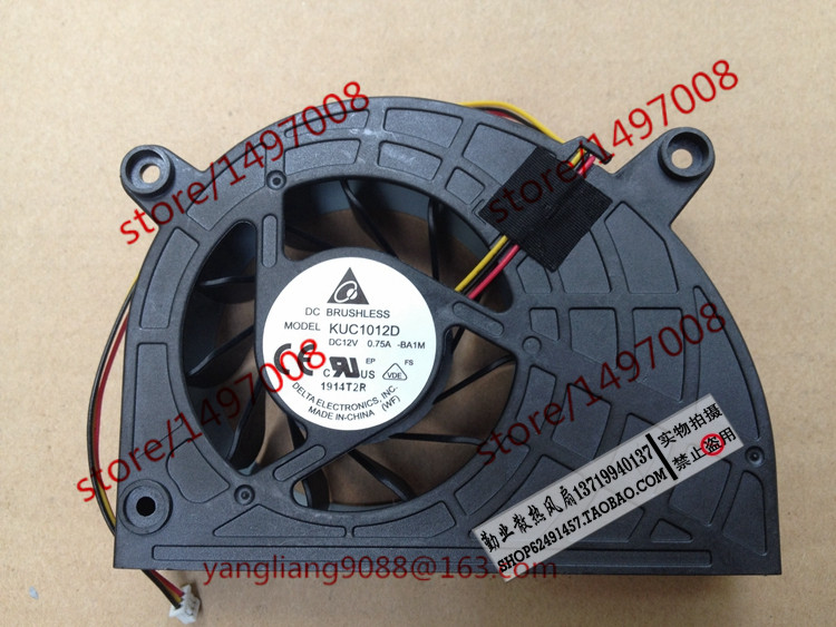 Free Shipping For Delta KUC1012D, -BA1M DC 12V 0.75A 3-wire 3-pin connector 70mm Server Laptop Cooling fan