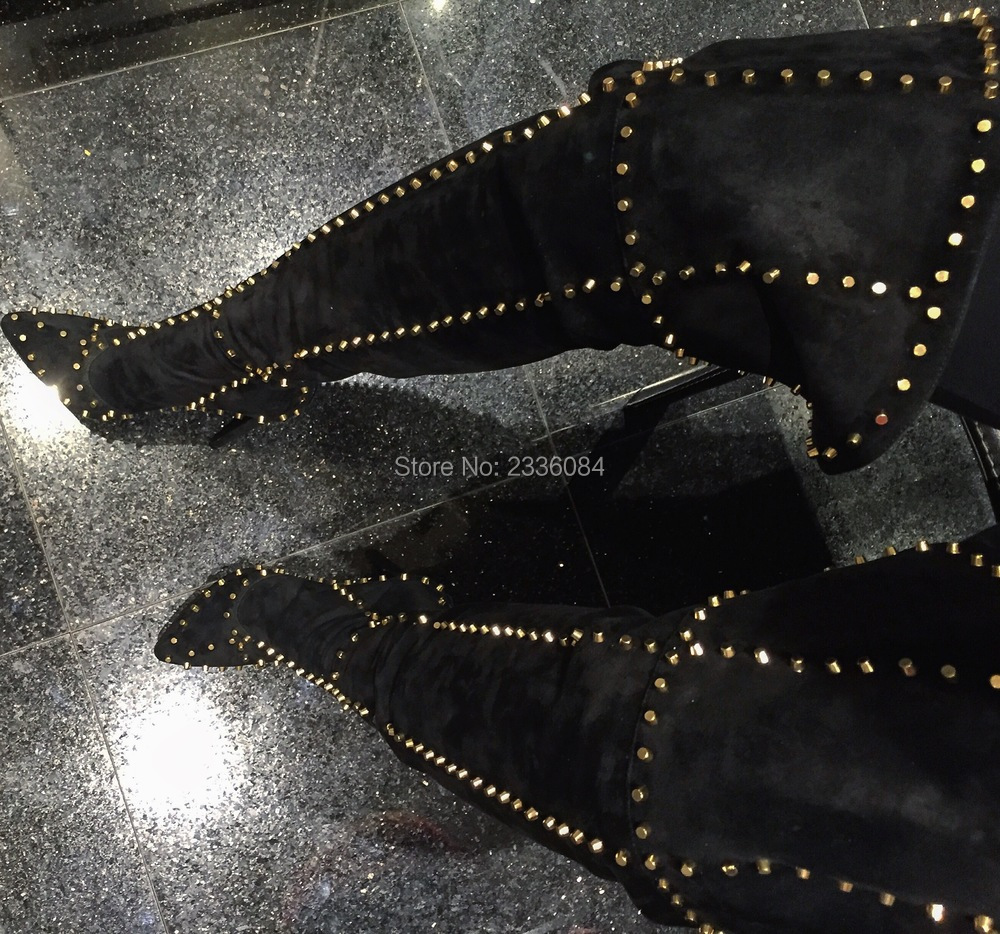 LTTL 2017 Women Thigh High Spike Boots Over Knee Gladiator Boots With Rivets Thin Heel Point Toe Black Leather Fashion Booties women black leather thigh high boots ladies square heel round toe zip over knee high boots autumn fashion motorcycle booties