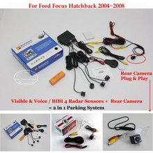 Для Ford Focus Hatchback 2004 ~ 2008-Автомобилей Датчики Парковки + Вид Сзади резервное Копирование Камеры = 2 в 1 Видео/Bibi Парковка система