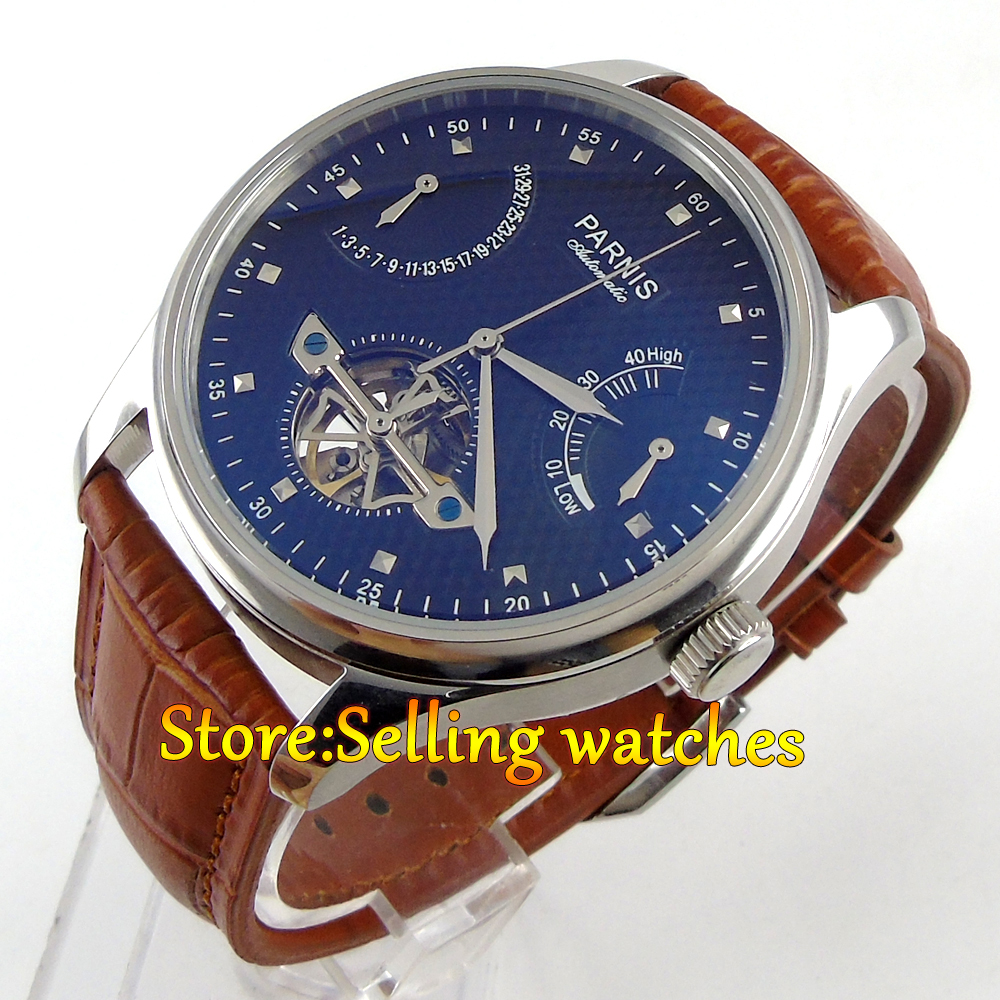 43mm Parnis Black Dial Power Reserve Date Leather Automatic Men's Wristwatch