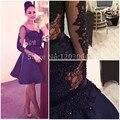 2016 New Charming V-Neck Long Sleeve Beaded Appliques A-Line robe de soiree Navy Blue Knee Length Arabic Short Cocktail Dresses