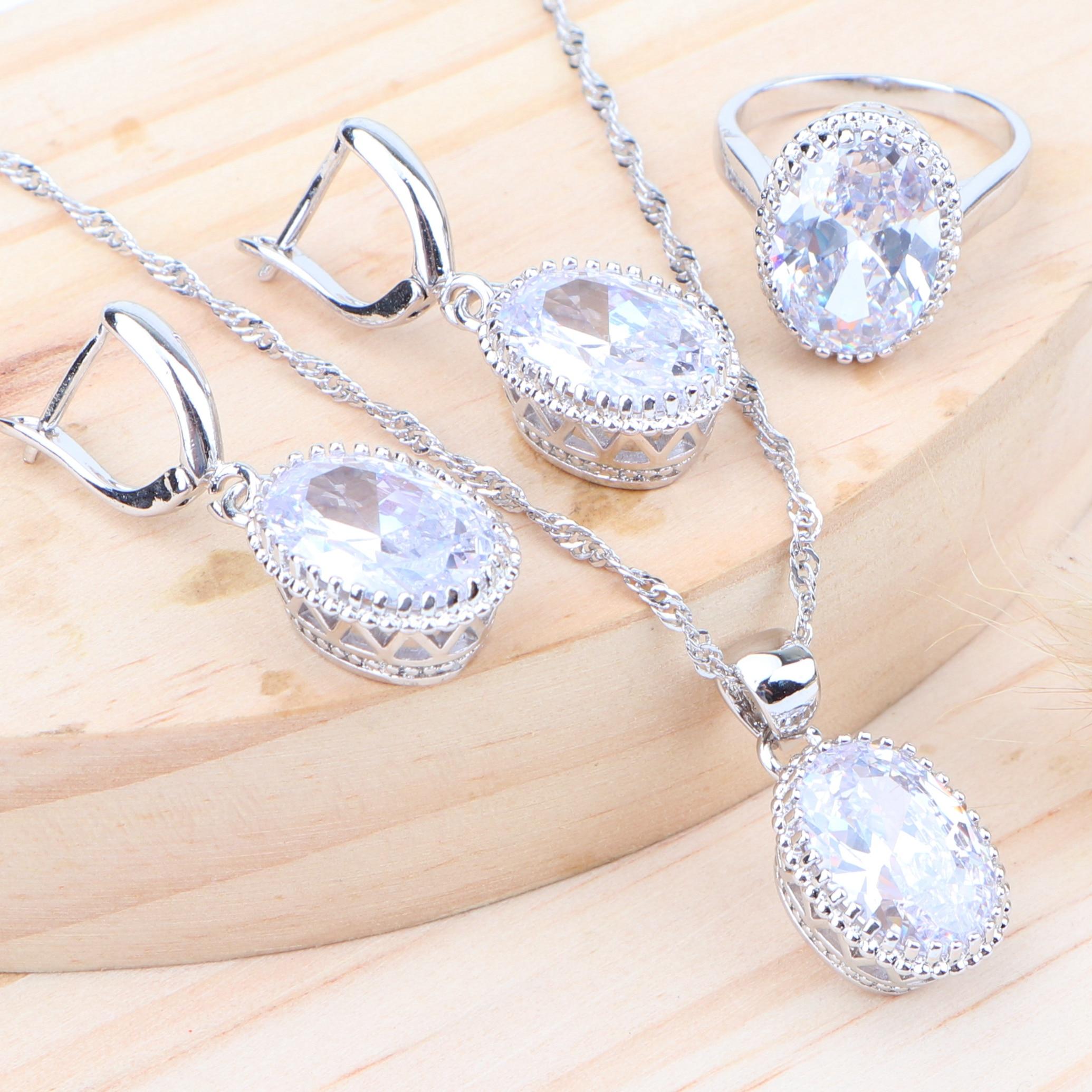 Wedding Bridal Women Silver 925 Jewelry Sets Zirconia Kids Costume Jewelry Ring Earrings Necklace Pendant Set Jewellery