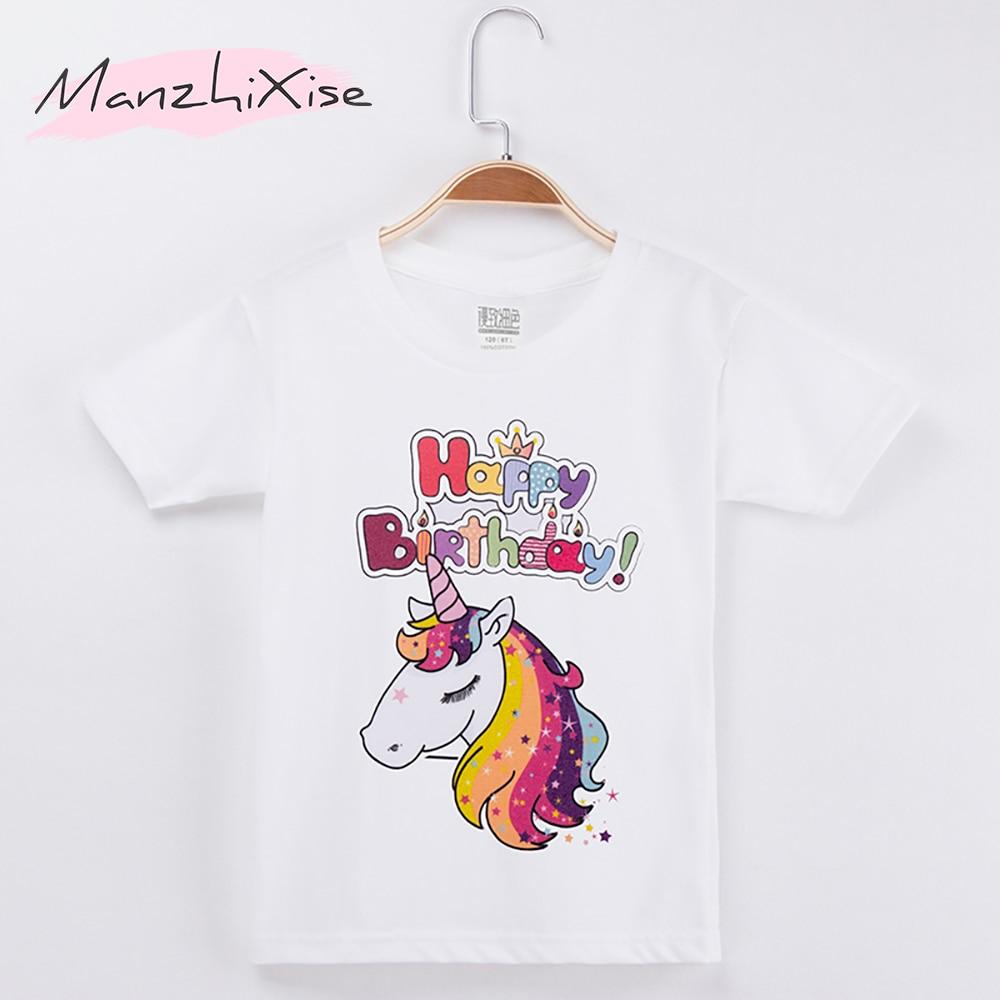 2018 New Arrival Chidren Clothes Kids T Shirts Unicorn Happy Birthday 100 Cotton Chid Girls Short Shirt Baby Girl Tops Tee