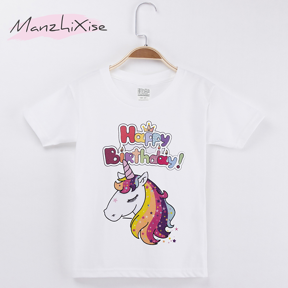 2019 New Arrival Chidren Clothes Kids T-shirts Unicorn Happy Birthday 100% Cotton Chid Girls Short T Shirt Baby Girl Tops Tee art