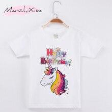 ФОТО 2018   Chidren Clothes Kids T-shirts Unicorn Happy Birthday 100 Cotton Chid Girls Short T Shirt Baby Girl Tops Tee