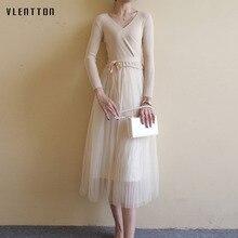 New fashion maxi dress Spring autumn 2019 Casual v neck Long Sleeve knitting Mesh womens dresses Sashes elegant bodycon