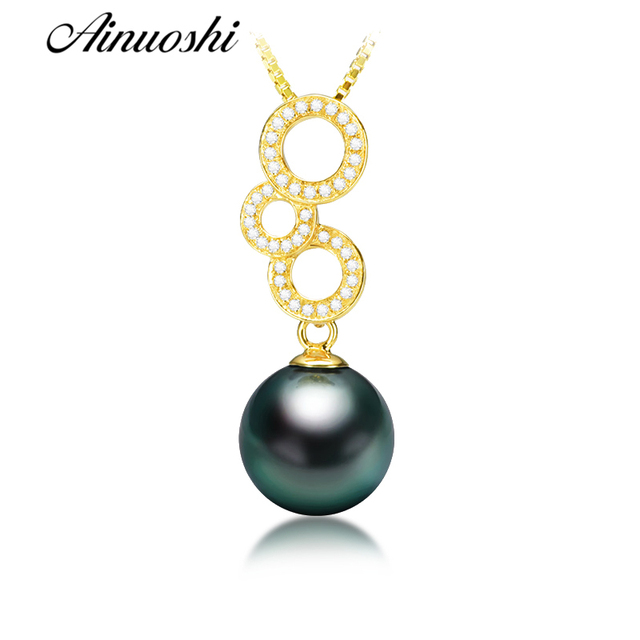 AINUOSHI 925 Sterling Silver Yellow Gold Color 3 Circles Shaped Women Necklace Pendants Black Cultured Pearl Tahiti Pendants