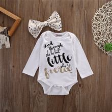 baby Girl Bodysuit Cotton Long Sleeve Letter Print Rompers O Neck Headband 2Pcs Clothes Set