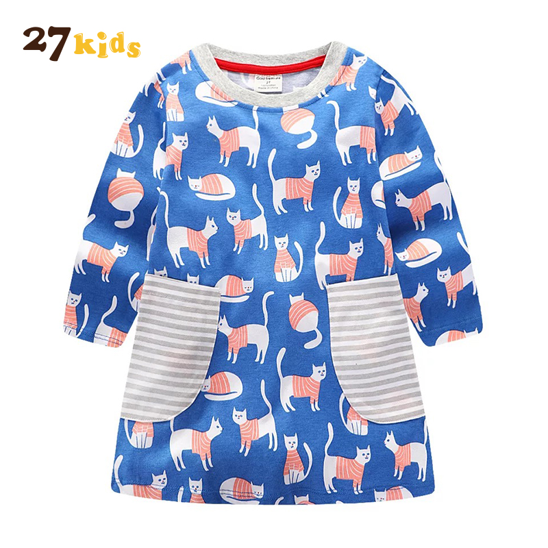 27 дети Милое платье для девочек модный принт с круглым вырезом полной длины Костюмы для Обувь для девочек кошка рисунок хлопок линии для дет...