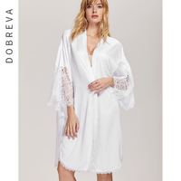 DOBREVA Women V neck Smooth Fabric Lace Robes Sexy Sleepwear Nightgown Sleep Dress