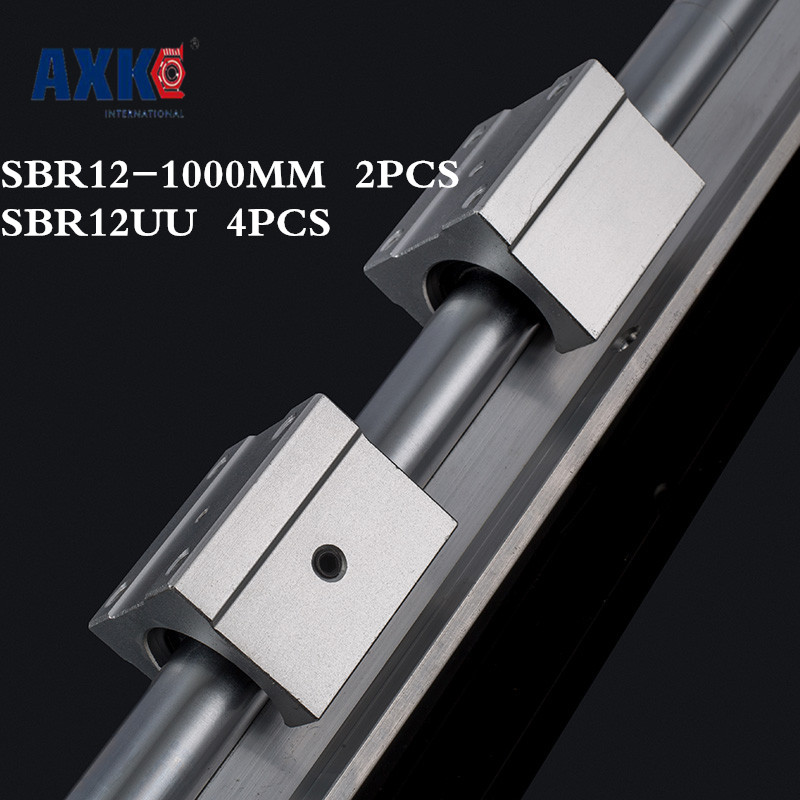 Axk High Quality 2pcs 12mm Linear Rail Sbr12 L1000mm Support Round Guide Rail + 4pcs Sbr12uu Slide Block For Cnc hig quality linear guide 1pcs trh25 length 1200mm linear guide rail 2pcs trh25b linear slide block for cnc part