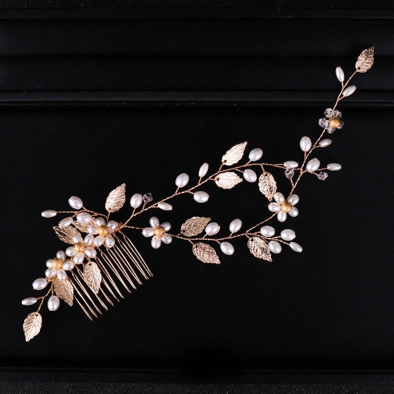 Bride Headdress Hair-Vine Jewelry Wedding-Hair-Comb Leaves Pearl-Bridesmaid Gold Elegant