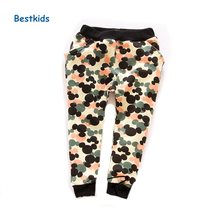Boys Pants 2015 Autumn Harem pants  cotton Boys Trousers camo army terry elastic waist Kids pants for girls
