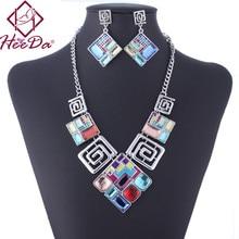 2017 New Fashion Geometric Square Glass Pendant Necklace Earrings Set Retro Style Boho Women Sweater Chain Dinner Dress Jewelry