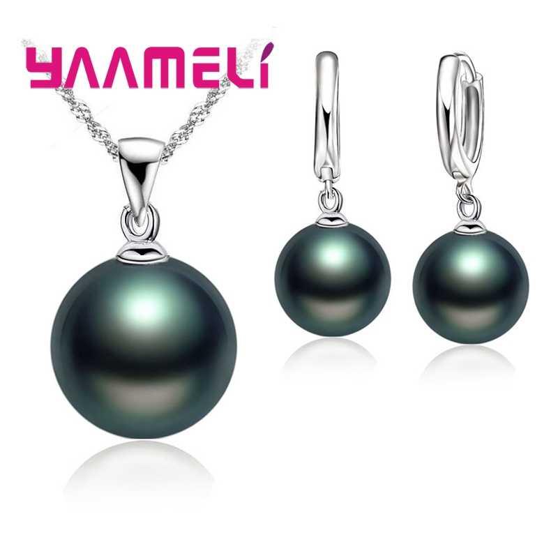 Glatte Frauen Hochzeit Schmuck Sets 925 Sterling Silber Perle Halskette Hoop Ohrringe Mode Schmuck Set Zubehör