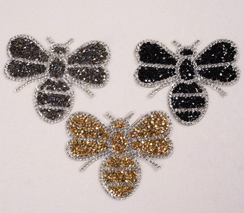 bee design hotfix rhinestone motif iron on patches applique for heat  transfer clothing shoe bag diy 02a007bb1335