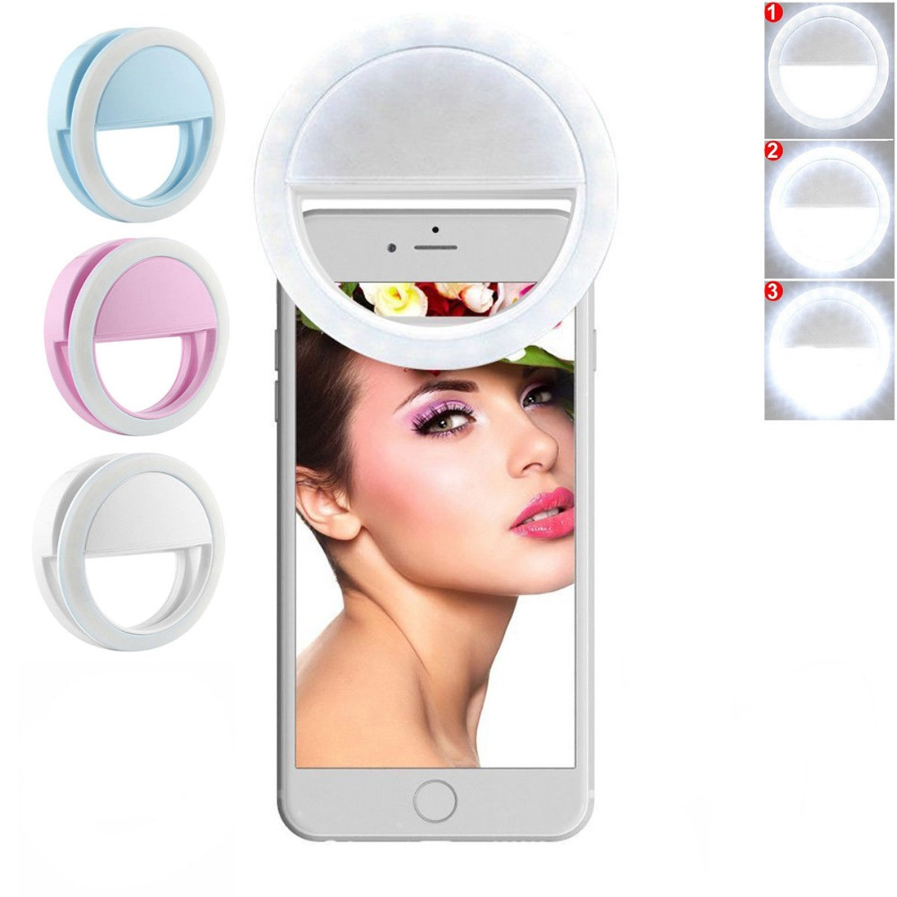 Wrumava Charm Eyes LED Selfie Ring Light Up Flash Photography Lysande lampa 36st 3 ljusstyrka för iPhone Samsung Telefon på klipp