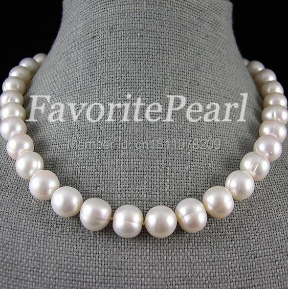 Pearl Necklace - Large Pearl Size 12-13mm 17.5-18 Inch White Color Freshwater Pearl Necklace Perfect Bridesmaid Wedding JewelryPearl Necklace - Large Pearl Size 12-13mm 17.5-18 Inch White Color Freshwater Pearl Necklace Perfect Bridesmaid Wedding Jewelry