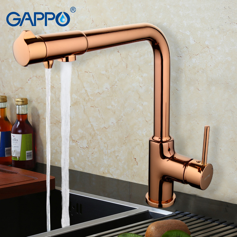 GAPPO 2017 Brass Kitchen Faucet Mixer Rose Gold Kitchen Sink Tap Single Handle Filtered Water Tap