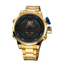 2016 ASJ Marque New Gold Mens Sport Montres De Luxe Chaude Numérique Quartz Montre Hommes Militaire De L'armée de Mode LED Montre-Bracelet Électronique