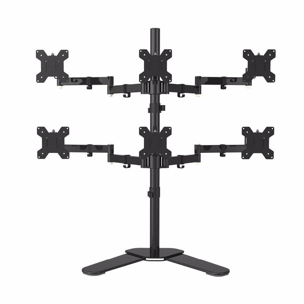 Bras hexagonal LCD moniteur LED support de montage de bureau support robuste et entièrement réglable 6 écrans 180 degrés tirer bras pivotant ML68126